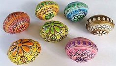 Vintage Easter Eggs Set Of 7 Hand Painted Japan Plaster Of Paris ...