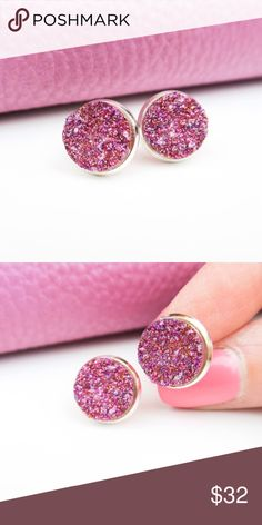 🆕 Purple Sparkle Druzy Studs A staple for your closet, these sparkly, round, purple, dime-size Druzy stud earrings will catch anyone's eye! Created with silver toned high quality zinc alloy material. Includes clear backing for closure. Measurement: .03 dime size stud. Handcrafted with love in the USA. Twilight Gypsy Collective Jewelry Earrings
