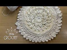 مفرش أو سجادة كروشيه على طريقة الماندالا الرائعة بالتفصيل للمحترفات (٤)crochet - YouTube Crochet Mat, Crochet Carpet, Crochet Potholders, Crochet Baby Shoes, Crochet Doilies, Crochet Poncho Patterns, Doily Patterns, Beginner Crochet Projects, Crochet For Beginners
