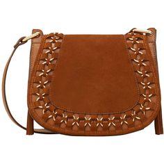 MANGO Appliqué Leather Bag (53 AUD) ❤ liked on Polyvore featuring bags, handbags, brown leather handbags, genuine leather purse, tassel handbag, mango handbags and leather purses
