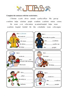 Jobs - Fill in the gaps Language: English Level/group: Grade 4 School subject: English as a Second Language (ESL) Main content: Jobs and occupations Other contents: Vocabulary Worksheets, Worksheets For Kids, English Vocabulary, Community Helpers Worksheets, Community Helpers Preschool, Teaching English, Learn English, Job Test, English Exercises