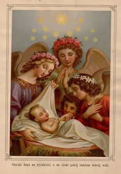 "Polish Holy Card    ""Glory to God in the highest, and peace to people of good will."""