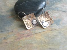 Copper Earrings. Mixed Metalwork. Sterling Silver. Textured. Rustic Patina. Made To Order on Etsy, $28.00