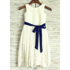 Ivory Cotton Eyelet Lace Flower Girl Dress with Navy Blue Sash