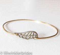 Angel Wing Bangle Bracelet  Stacking Bangle by Liliwinklerbrides2, $12.99