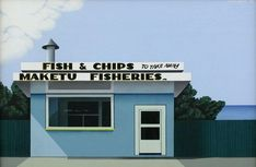 Robin White Fish and chips, Maketu 1975 Oil on canvas Auckland Art Gallery Toi o Tāmaki, purchased 1975 Auckland Art Gallery, Fish And Chip Shop, New Zealand Landscape, New Zealand Art, Nz Art, Kiwiana, Robin, House Styles, Places