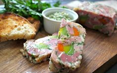 Ham hock terrine is a rustic French classic; a mosaic of slow-cooked ham, veg and parsley bound together by a savoury jelly. Hock is an inexpensive meat cut and just requires a slow cook to undo it. Ham Hock Terrine, Slow Cooked Ham, Party Platters, Fresh Bread, Yummy Snacks, Quick Easy Meals, Salmon Burgers, French Classic, Rustic French