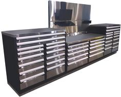 New! Stainless steel drawer fronts for your tool boxes and automotive global technician workbenches.
