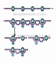 Free pattern for necklace Faberge - 2 -----------U need seed beads colors), Rondelle beads mm. by leona Beaded Necklace Patterns, Bracelet Patterns, Beaded Bracelets, Necklaces, Beading Patterns, Bead Jewellery, Seed Bead Jewelry, Seed Beads, Jewelry Crafts