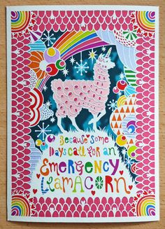 Emergency Llamacorn A4 Papercut Giclee Art by HouseOfAlphonse
