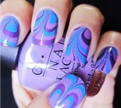 Purple Water Marble Nail Design