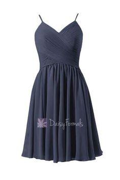 A Line Navy Blue Bridesmaid Dress Short Chiffon Party Homecoming