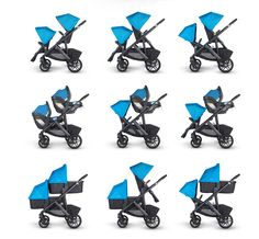 Look at all the possibilities of the #2015 #uppababy #vista. Now a true #doublestroller option with multiple seat, bassinet & #carseat configurations. Larger, 4 position reclining #rumbleseat, 7 colors, improved tires, easy to wipe bumper bar, zip off bassinet apron, new fold (just like #Cruz). Full blog & more photos at #nessaleebaby #stroller #babygear #newbabyproducts #ABCKidsExpo2014