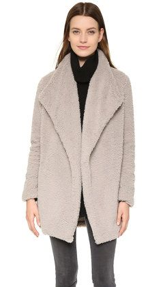 Love this cozy jacket, perfect over skinny jeans and thigh high boots.