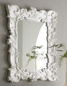 Master Bath-White baroque mirror above each vanity