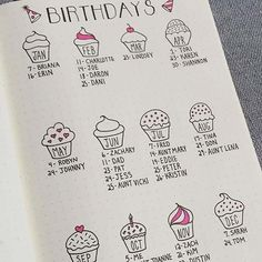 birthday reminder page for bullet journal ideas