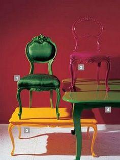 Cadeira e Mesa: Cadeiras Laqueadas
