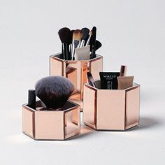 Beautify Rose Gold Mirrored Glass Hexagon Storage Pots for Makeup, Brushes, Jewellery & Accessories - Set of 3 includes FREE Glass Cleaning Cloth