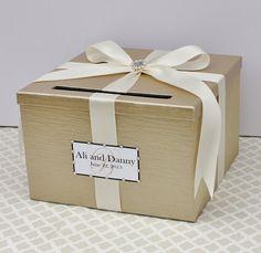 Wedding Card Box Champagne Gold Ivory Money Holder Customizable on Etsy, $59.00