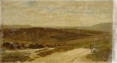 """Oil painting from the Fine Art collection. """"Southdown Village"""" by Clement Lambert, showing a view of the downs with a village in mid-distance. A small boy with a dog stands on a path."""