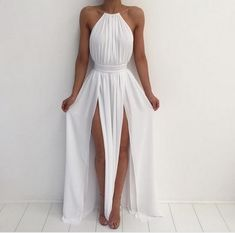 White halter simple A-line backless long prom dress,chiffon evening dress by DRESS, $150.00 USD