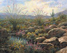 """Jon McNaughton, """"Desert Bloom"""". Jon Mcnaughton, Landscape Paintings, Landscapes, Scenery Pictures, Desert Landscape, Latter Day Saints, Christian Art, Spring Time, Wonders Of The World"""