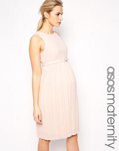 ASOS Maternity – Mittellanges Skaterkleid mit plissiertem Rock und Gürtel