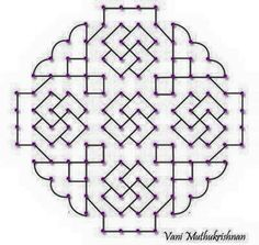 Kolam is an age old art similar to Rangoli, that uses dots as foundation. This article gives out the latest Kolam designs of different patterns you can try Small Rangoli Design, Rangoli Patterns, Rangoli Kolam Designs, Rangoli Designs Images, Rangoli Ideas, Rangoli Designs With Dots, Kolam Rangoli, Flower Rangoli, Rangoli With Dots