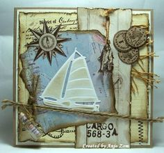 nautical card - masculine card - Marianne design sailboat - stamp compass