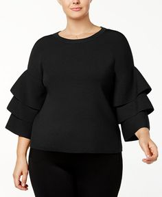 Plus Size Tiered-Sleeve Sweater