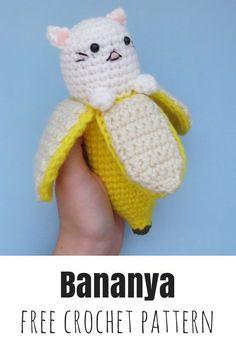 Crochet a Bananya amigurumi, a banana cat, with this free pattern. : Crochet a Bananya amigurumi, a banana cat, with this free pattern. Kawaii Crochet, Crochet Food, Crochet Gifts, Cute Crochet, Easy Crochet, Crochet Bear, Crochet Cupcake, Crochet Humor, Crochet Amigurumi Free Patterns