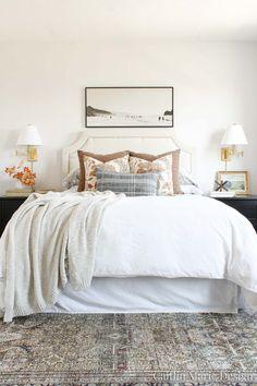 Cozy Bedroom, Bedroom Inspo, Bedroom Art, Bedroom Inspiration, Bedroom Ideas, Beige Headboard, Grey Sheets, Shared Bedrooms, Master Bedrooms
