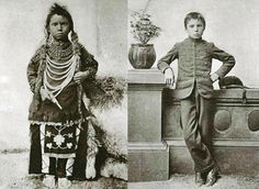 On the left a Native American on the right, no change in facial expression but he's obeying