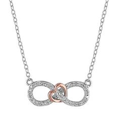 1/10 Carat T.W. Diamond Two Tone Sterling Silver Infinity Heart Necklace