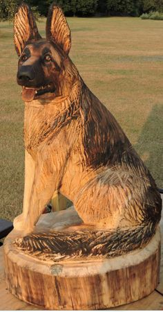 Dog, German Shepherd, Animal, Pets, Chainsaw Carving, Lawn Decoration, Chainsaw Art, Wood Statue, Carving, Yard Decoration