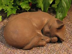 "CAT Sleeping STATUE 11"" Kitten Sculpture DARK BROWN STAIN Cast CEMENT GARDEN Outdoor Decor by eEarthExchange. $69.95. 11""L x 4""H x 9""D, 20 lbs. CONCRETE - Cast Stone - NO RESIN. This listing is for DARK WALNUT STAIN (Brown) ONLY - as pictured. MADE in the USA!!!   Ships Ground with insurance. Each casting is hand finished using an antiquing stain that permanently changes the exterior surface to one of the colors listed above. Due to the nature of this process, each cas..."