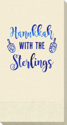 Personalized Hanukkah Dreidels Guest Towels