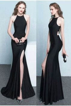 black mermaid prom dress, sexy prom gown with side slit M2725