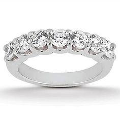 14K White Gold Diamond Scalloped Shared U Prong Setting Wedding Ring Band