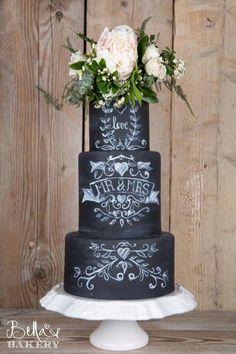 Chalk board cake wedding cake by Bella 's Bakery