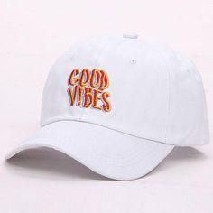 f2427ae3dbe55 white good vibes cap dad hat Fashion Hats