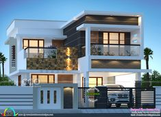 200 sq-m 3 BHK modern house plan 3 bedroom, 2150 square feet modern contemporary style house in flat roof style by Dream Form from Kerala. Modern Exterior House Designs, Best Modern House Design, Modern House Facades, Latest House Designs, Modern House Plans, Modern Zen House, Modern Roof Design, Modern Bungalow Exterior, My House Plans