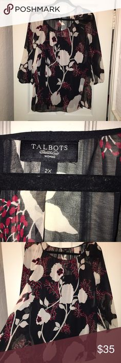 Talbots Black/Red/White Blouse Plus Size 2X Talbots Black/Red/White Blouse Plus Size 2X. Gently worn. Has black camisole underneath. Great for work with black slacks or skirt also pairs nicely with jeans. Only work a few times. Talbots Tops Blouses