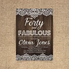 40th birthday invitation Lace invitation Woman by CoolStudio