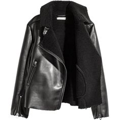 H&M Pile-lined Biker Jacket $39.99 (€38) ❤ liked on Polyvore featuring outerwear, jackets, coats, coats & jackets, collar jacket, fleece-lined jackets, vegan leather motorcycle jacket, vegan leather jacket and faux-leather moto jackets