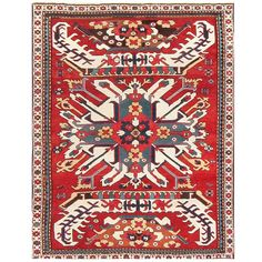 Antique Caucasian Chelaberd Eagle Kazak Rug | From a unique collection of antique and modern caucasian rugs at https://www.1stdibs.com/furniture/rugs-carpets/caucasian-rugs/