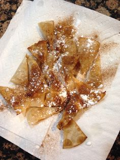 My new favorite dessert! Take the HEB ready to cook tortillas, cut them into 1/8.  Fry them In a pan, remove them and place on a napkin lined plate.  Sprinkle with cinnamon sugar and powdered sugar!  YUM!