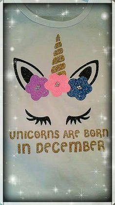 Unicorn are born in December  / Unicorn birthday party  / Unicorn birthday shirts  / Unicorn magical party  / Glitter  / Sparkle