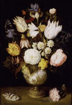 A Vase of Flowers [Ambrosius Bosschaert the Elder] Oil Painting Reproduction | Artwork For Sale