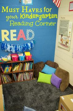 Reading Corner Discover Must Haves for your Kindergarten Reading Corner School can be such an encouraging time for kids to grow and these MUST HAVES for your Kindergarten reading corner is a perfect list for teachers. Preschool Reading Corner, Classroom Reading Area, Preschool Books, Kids Reading, Kindergarten Classroom, Reading Nooks, Book Nooks, Classroom Decor, Reading Areas
